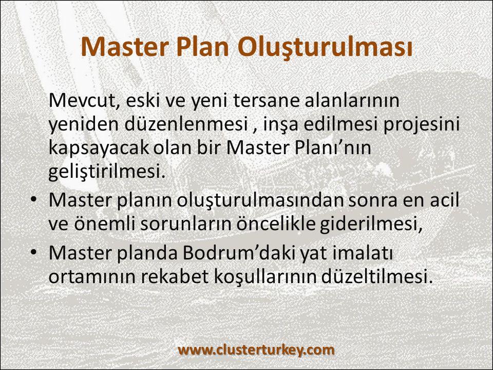 Master Plan Oluşturulması Mevcut, eski ve yeni tersane alanlarının yeniden düzenlenmesi, inşa edilmesi projesini kapsayacak olan bir Master Planı'nın