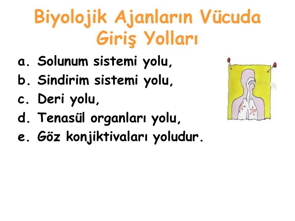 Biyolojik Ajanların Vücuda Giriş Yolları a.Solunum sistemi yolu, b.Sindirim sistemi yolu, c.Deri yolu, d.Tenasül organları yolu, e.Göz konjiktivaları