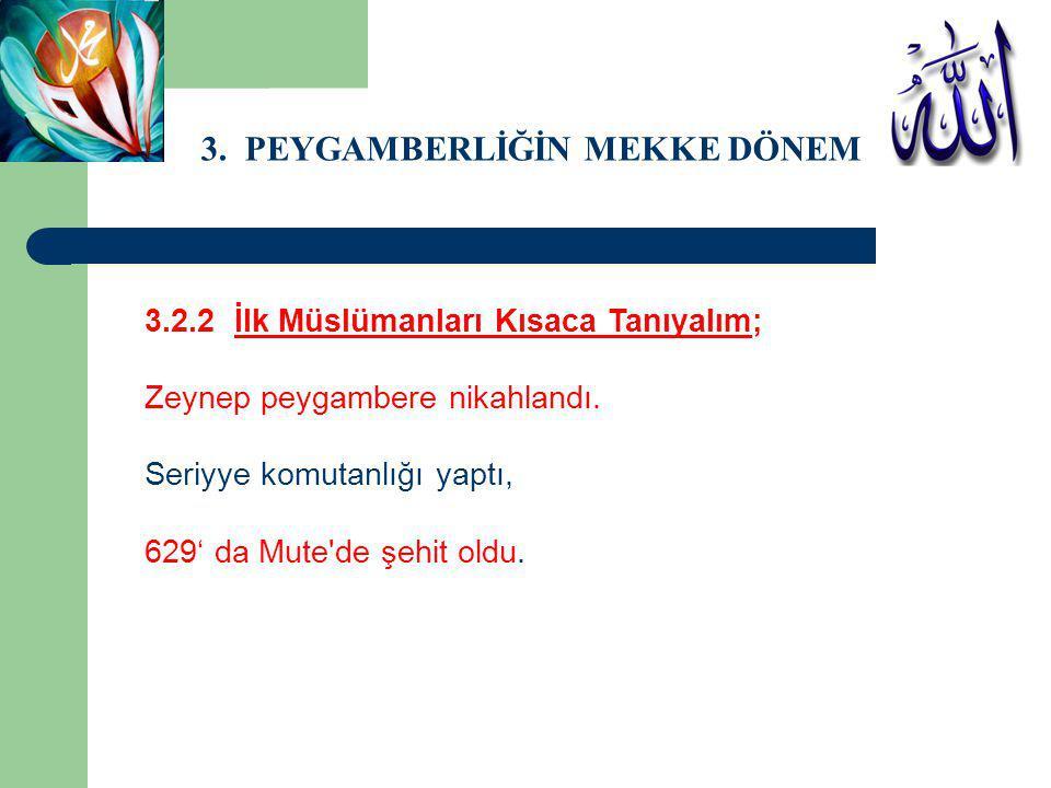 3. PEYGAMBERLİĞİN MEKKE DÖNEMİ 3.2.2 İlk Müslümanları Kısaca Tanıyalım; Zeynep peygambere nikahlandı. Seriyye komutanlığı yaptı, 629' da Mute'de şehit