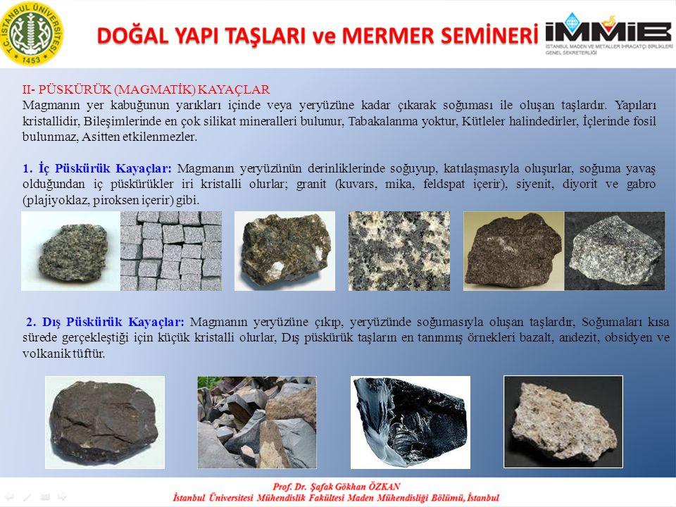 II- PÜSKÜRÜK (MAGMATİK) KAYAÇLAR Magmanın yer kabuğunun yarıkları içinde veya yeryüzüne kadar çıkarak soğuması ile oluşan taşlardır.