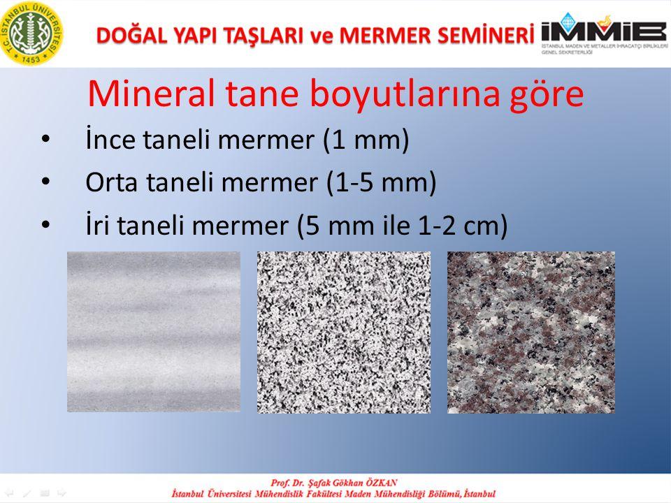Mineral tane boyutlarına göre İnce taneli mermer (1 mm) Orta taneli mermer (1-5 mm) İri taneli mermer (5 mm ile 1-2 cm)