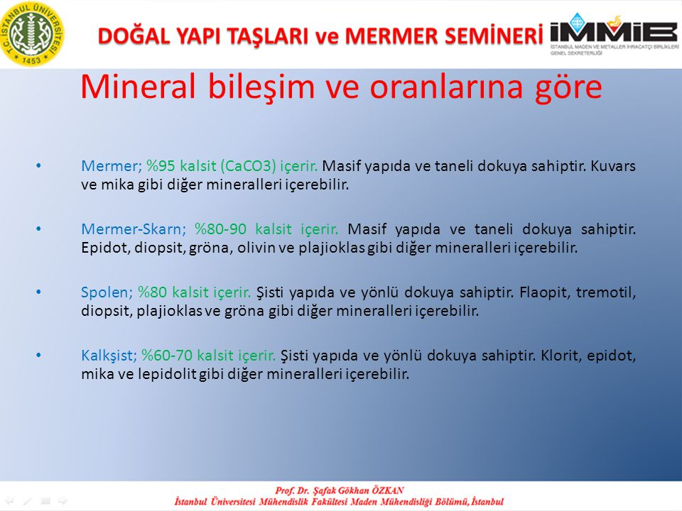 Mineral bileşim ve oranlarına göre Mermer; %95 kalsit (CaCO3) içerir.