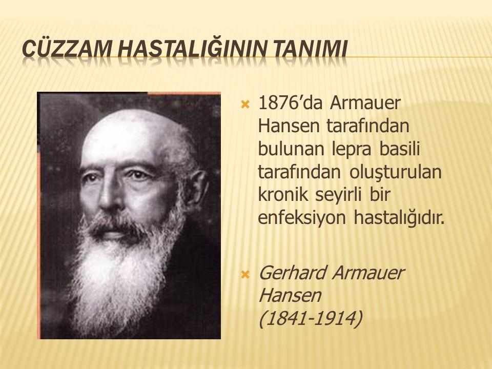  1876'da Armauer Hansen tarafından bulunan lepra basili tarafından oluşturulan kronik seyirli bir enfeksiyon hastalığıdır.  Gerhard Armauer Hansen (
