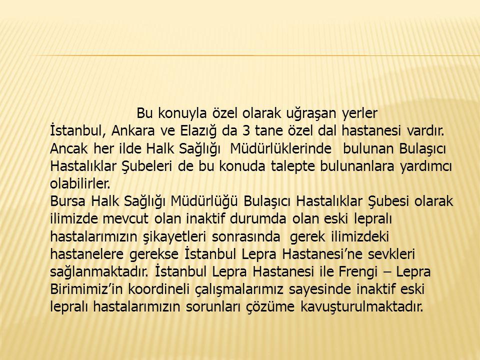 Bu konuyla özel olarak uğraşan yerler İstanbul, Ankara ve Elazığ da 3 tane özel dal hastanesi vardır. Ancak her ilde Halk Sağlığı Müdürlüklerinde bulu