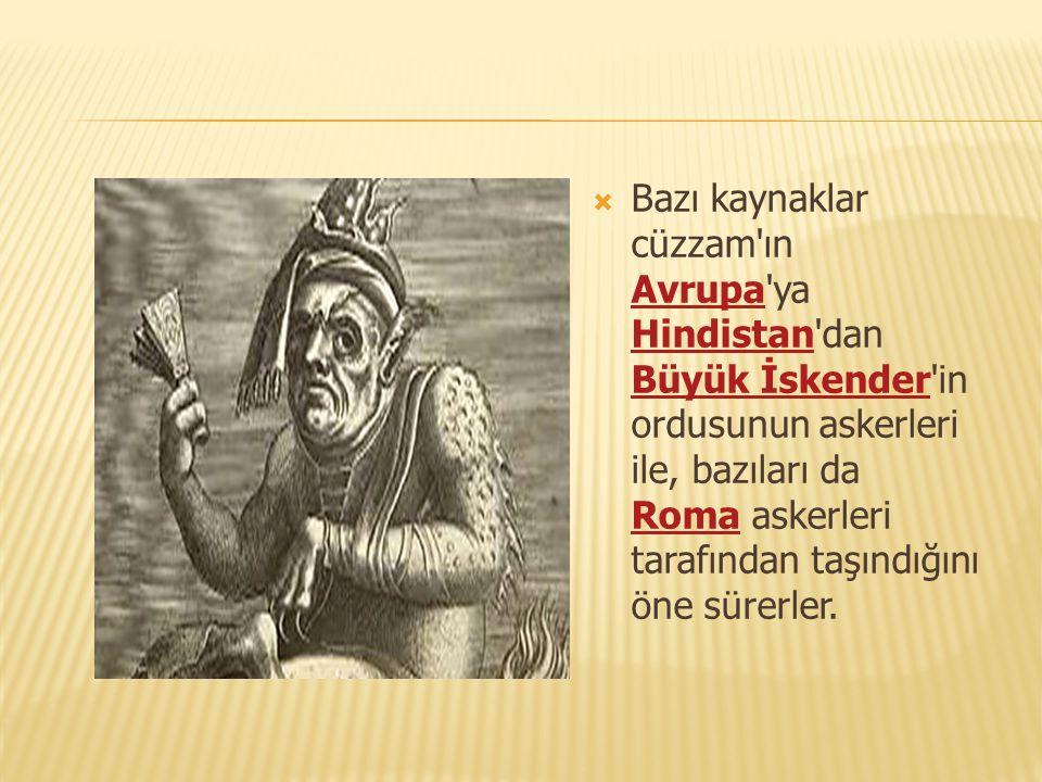  Bazı kaynaklar cüzzam'ın Avrupa'ya Hindistan'dan Büyük İskender'in ordusunun askerleri ile, bazıları da Roma askerleri tarafından taşındığını öne sü