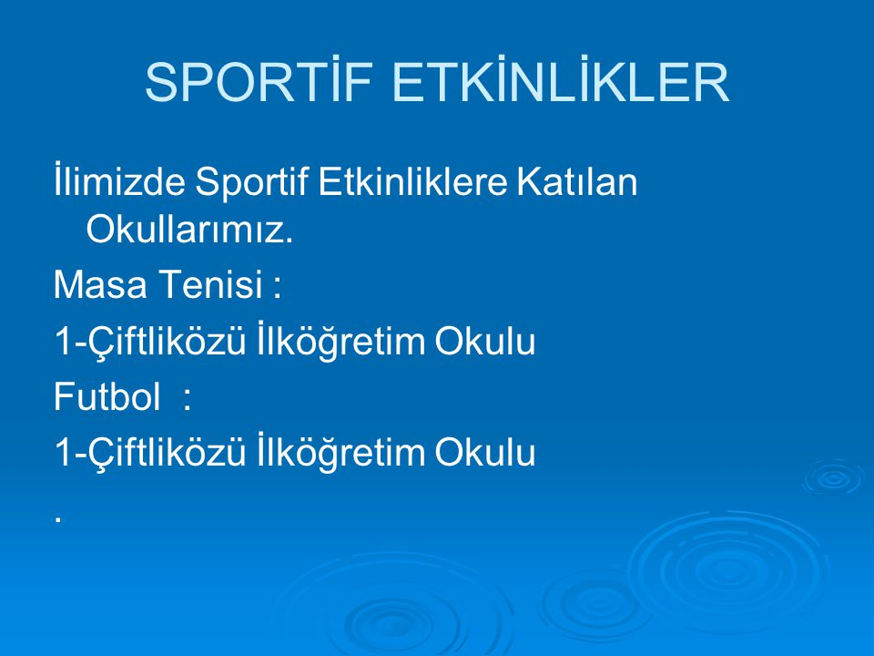 SPORTİF ETKİNLİKLER İlimizde Sportif Etkinliklere Katılan Okullarımız. Masa Tenisi : 1-Çiftliközü İlköğretim Okulu Futbol : 1-Çiftliközü İlköğretim Ok