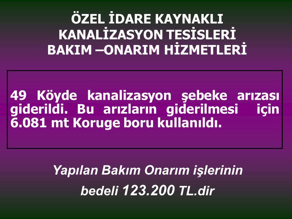 ÖZEL İDARE KAYNAKLI KANALİZASYON TESİSLERİ BAKIM –ONARIM HİZMETLERİ 49 Köyde kanalizasyon şebeke arızası giderildi.
