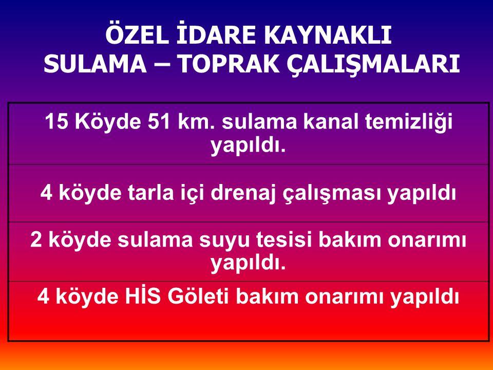 ÖZEL İDARE KAYNAKLI SULAMA – TOPRAK ÇALIŞMALARI 15 Köyde 51 km.