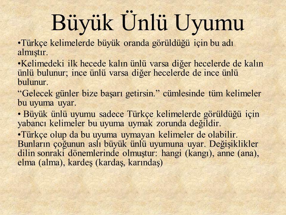 Küçük Ünlü Uyumu Türkçe kelimelerde diğerinden daha az oranda görüldüğü için bu adı almıştır.