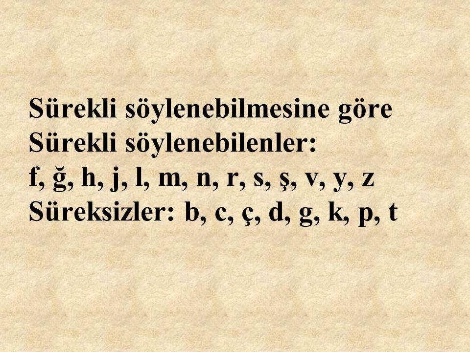 Yumuşak ve sert olanlar Yumuşak sessizler: b, c, d, g, ğ, j, l, m, n, r, v, y, z Sert sessizler: ç, f, h, k, p, s, ş, t