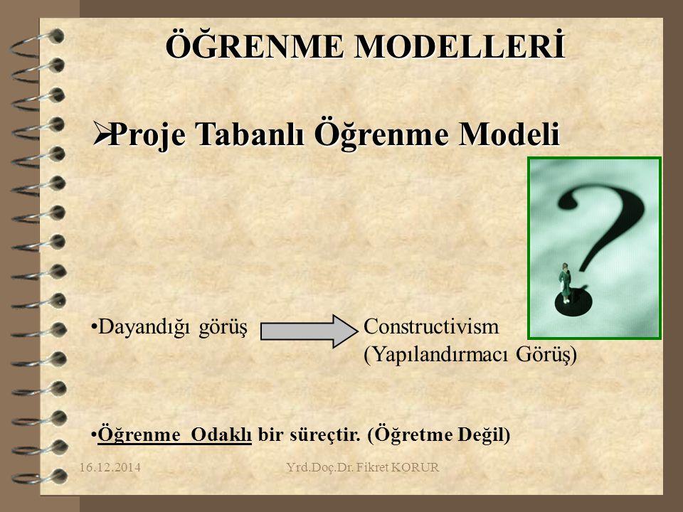 16.12.2014Yrd.Doç.Dr. Fikret KORUR ÖĞRENME MODELLERİ  Proje Tabanlı Öğrenme Modeli Dayandığı görüş Constructivism (Yapılandırmacı Görüş) Öğrenme Odak