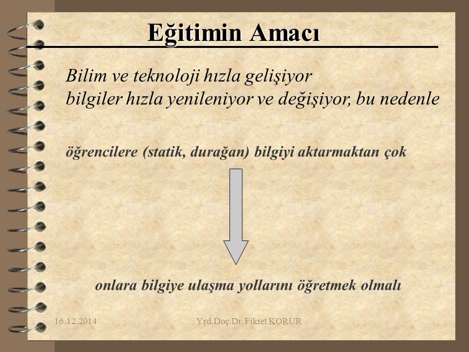 16.12.2014Yrd.Doç.Dr.Fikret KORUR 5. PROJENİN DEĞERLENDİRMESİ 1.