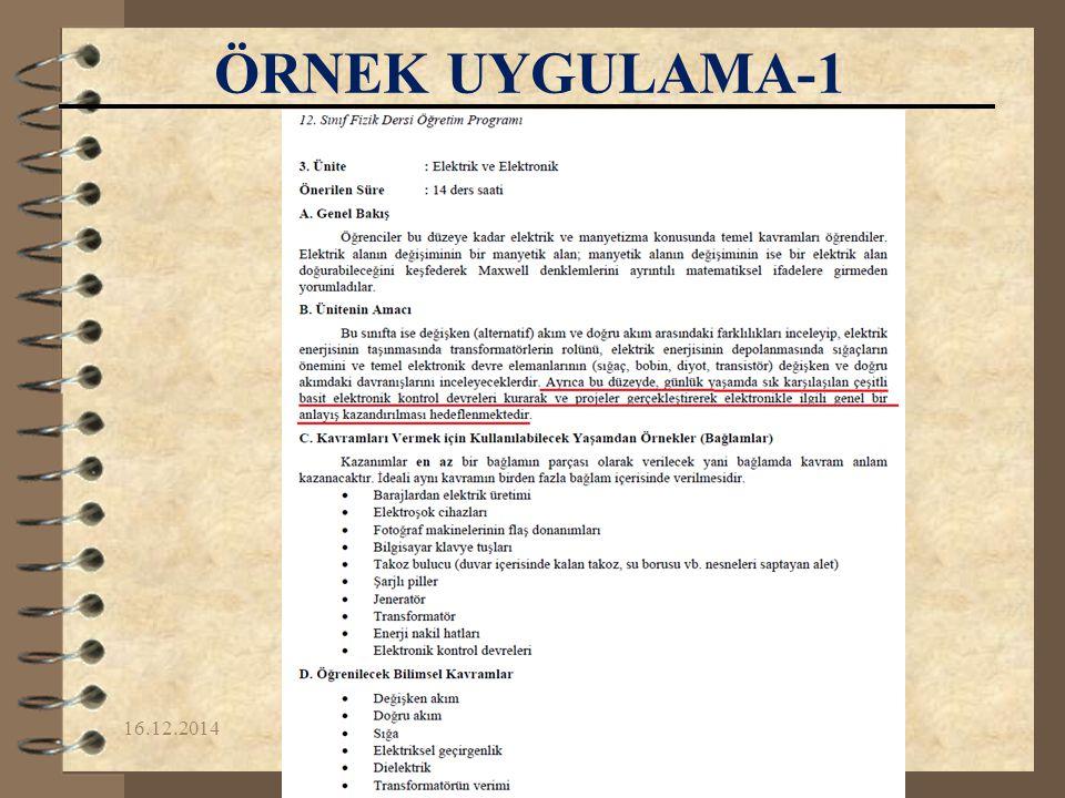 16.12.2014Yrd.Doç.Dr. Fikret KORUR ÖRNEK UYGULAMA-1