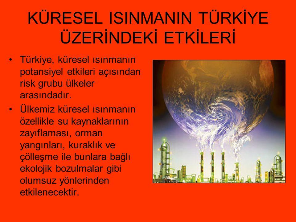 KÜRESEL ISINMANIN TÜRKİYE ÜZERİNDEKİ ETKİLERİ Türkiye, küresel ısınmanın potansiyel etkileri açısından risk grubu ülkeler arasındadır. Ülkemiz küresel