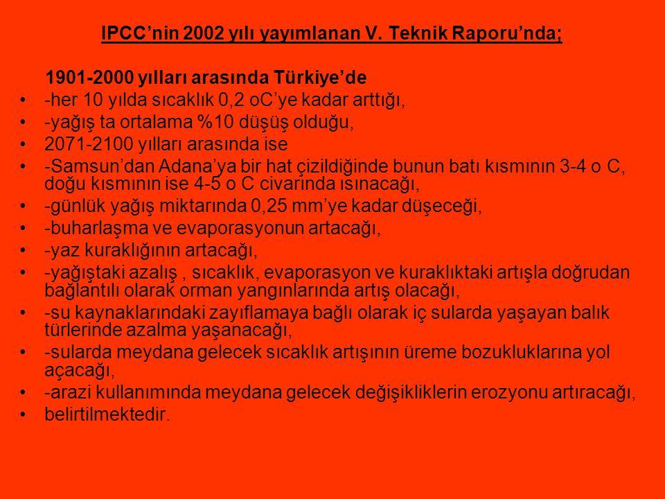 IPCC'nin 2002 yılı yayımlanan V. Teknik Raporu'nda; 1901-2000 yılları arasında Türkiye'de -her 10 yılda sıcaklık 0,2 oC'ye kadar arttığı, -yağış ta or