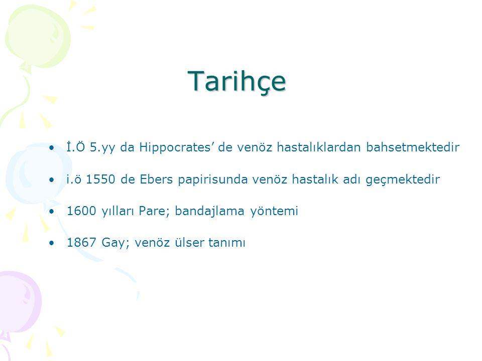 Tarihçe İ.Ö 5.yy da Hippocrates' de venöz hastalıklardan bahsetmektedir i.ö 1550 de Ebers papirisunda venöz hastalık adı geçmektedir 1600 yılları Pare