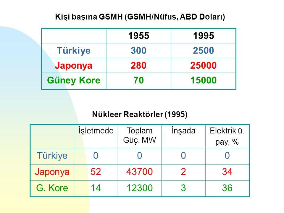 Kişi başına GSMH (GSMH/Nüfus, ABD Doları) Nükleer Reaktörler (1995) 19551995 Türkiye3002500 Japonya28025000 Güney Kore7015000 İşletmedeToplam Güç, MW İnşadaElektrik ü.