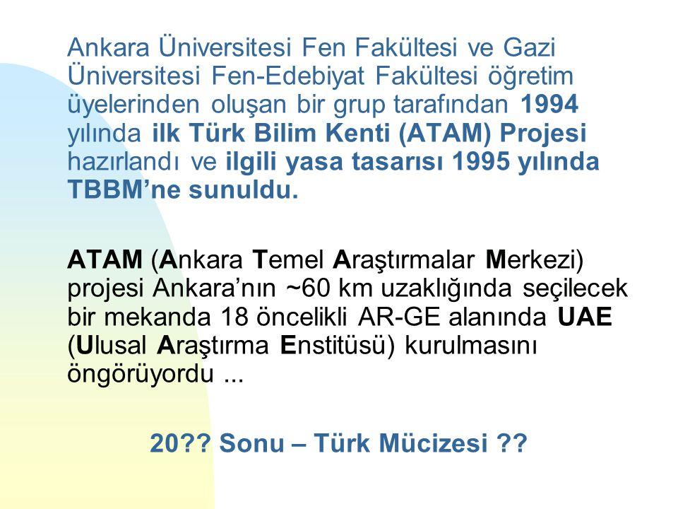 Ankara Üniversitesi Fen Fakültesi ve Gazi Üniversitesi Fen-Edebiyat Fakültesi öğretim üyelerinden oluşan bir grup tarafından 1994 yılında ilk Türk Bilim Kenti (ATAM) Projesi hazırlandı ve ilgili yasa tasarısı 1995 yılında TBBM'ne sunuldu.