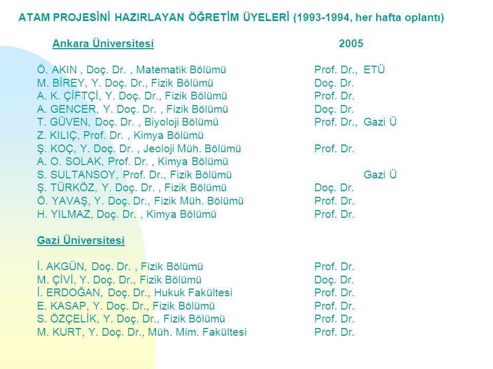 ATAM PROJESİNİ HAZIRLAYAN ÖĞRETİM ÜYELERİ (1993-1994, her hafta oplantı) Ankara Üniversitesi 2005 Ö.