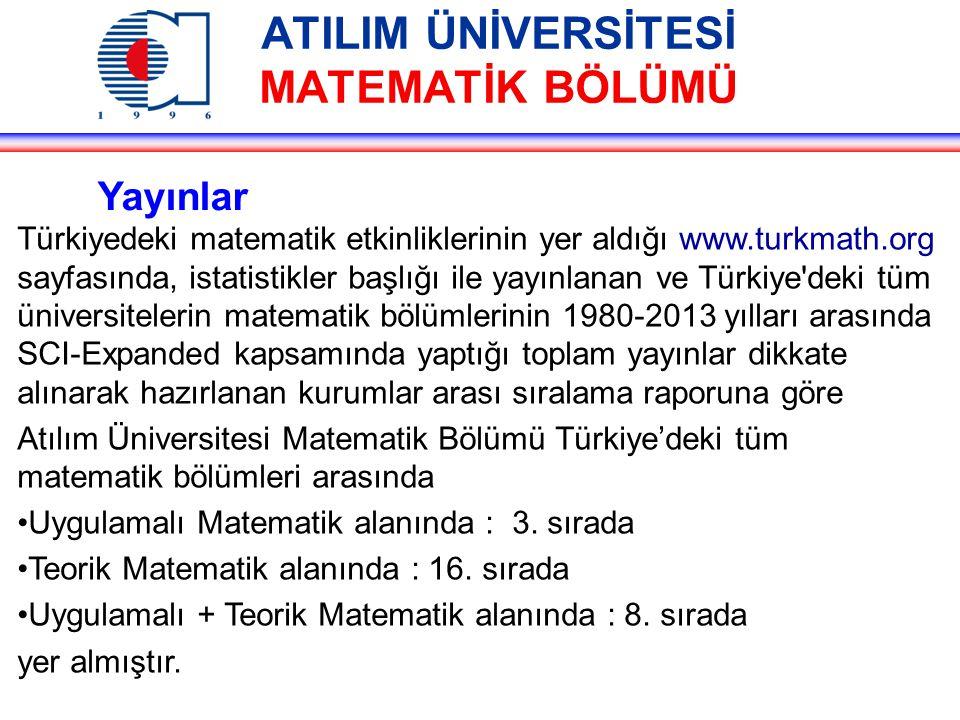 ATILIM ÜNİVERSİTESİ MATEMATİK BÖLÜMÜ Yayınlar Türkiyedeki matematik etkinliklerinin yer aldığı www.turkmath.org sayfasında, istatistikler başlığı ile yayınlanan ve Türkiye deki tüm üniversitelerin matematik bölümlerinin 1980-2013 yılları arasında SCI-Expanded kapsamında yaptığı toplam yayınlar dikkate alınarak hazırlanan kurumlar arası sıralama raporuna göre Atılım Üniversitesi Matematik Bölümü Türkiye'deki tüm matematik bölümleri arasında Uygulamalı Matematik alanında : 3.