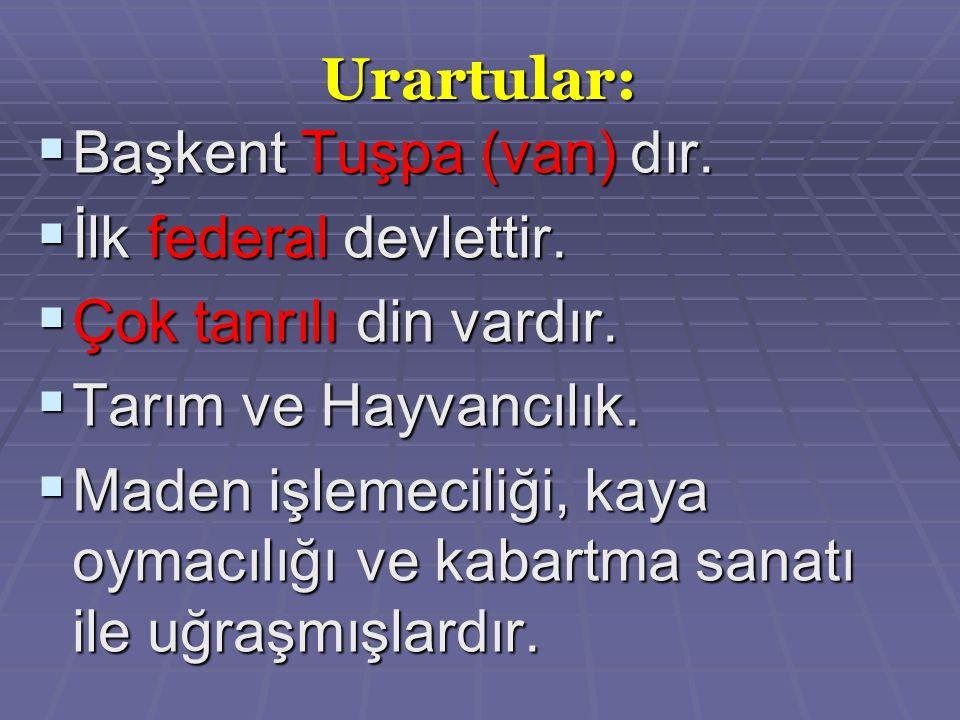 Urartular:  Başkent Tuşpa (van) dır. İlk federal devlettir.