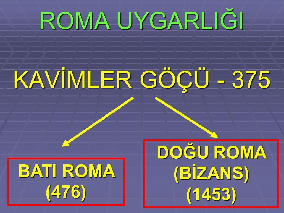 ROMA UYGARLIĞI KAVİMLER GÖÇÜ - 375 BATI ROMA (476) DOĞU ROMA (BİZANS) (1453)