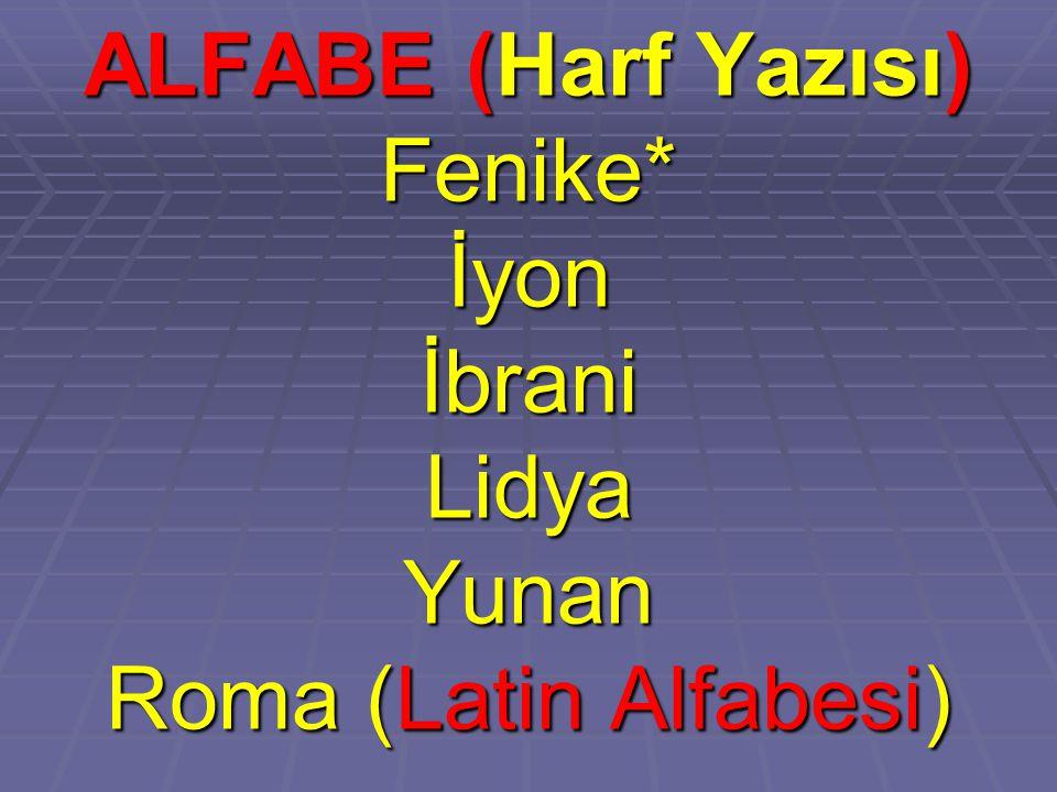 ALFABE (Harf Yazısı) Fenike*İyonİbraniLidyaYunan Roma (Latin Alfabesi)