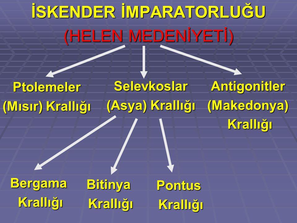 İSKENDER İMPARATORLUĞU (HELEN MEDENİYETİ) Ptolemeler (Mısır) Krallığı Selevkoslar (Asya) Krallığı Antigonitler(Makedonya) Krallığı Krallığı Bergama Bitinya Pontus