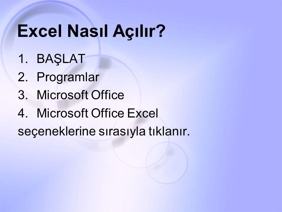 Excel Nasıl Açılır? 1.BAŞLAT 2.Programlar 3.Microsoft Office 4.Microsoft Office Excel seçeneklerine sırasıyla tıklanır.