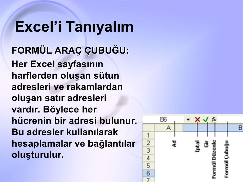 Excel'i Tanıyalım FORMÜL ARAÇ ÇUBUĞU: Her Excel sayfasının harflerden oluşan sütun adresleri ve rakamlardan oluşan satır adresleri vardır. Böylece her