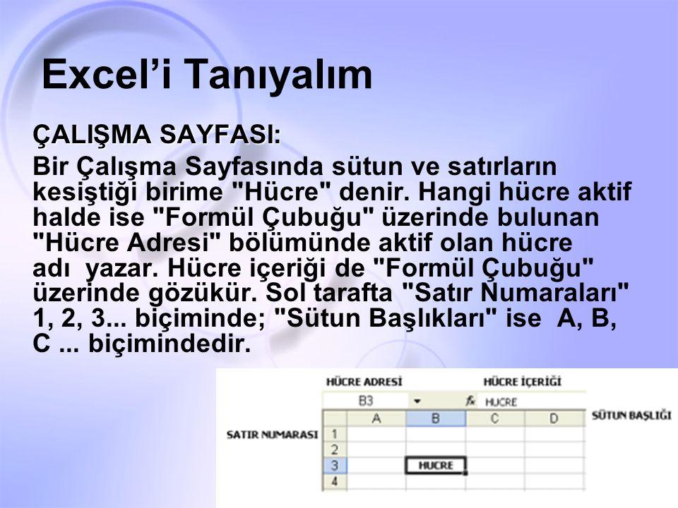 Excel'i Tanıyalım ÇALIŞMA SAYFASI: Bir Çalışma Sayfasında sütun ve satırların kesiştiği birime