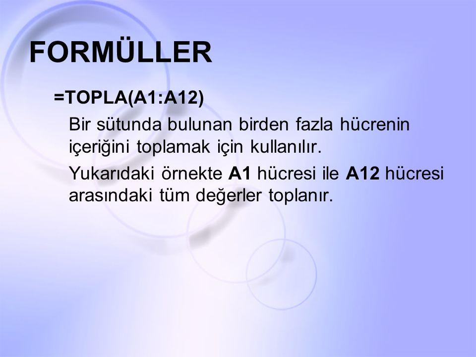 FORMÜLLER =TOPLA(A1:A12) Bir sütunda bulunan birden fazla hücrenin içeriğini toplamak için kullanılır. Yukarıdaki örnekte A1 hücresi ile A12 hücresi a