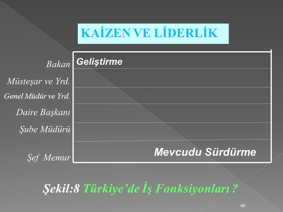 66 Bakan Müsteşar ve Yrd. Genel Müdür ve Yrd. Daire Başkanı Şube Müdürü Şef Memur Geliştirme Mevcudu Sürdürme Şekil:8 Türkiye'de İş Fonksiyonları ? KA