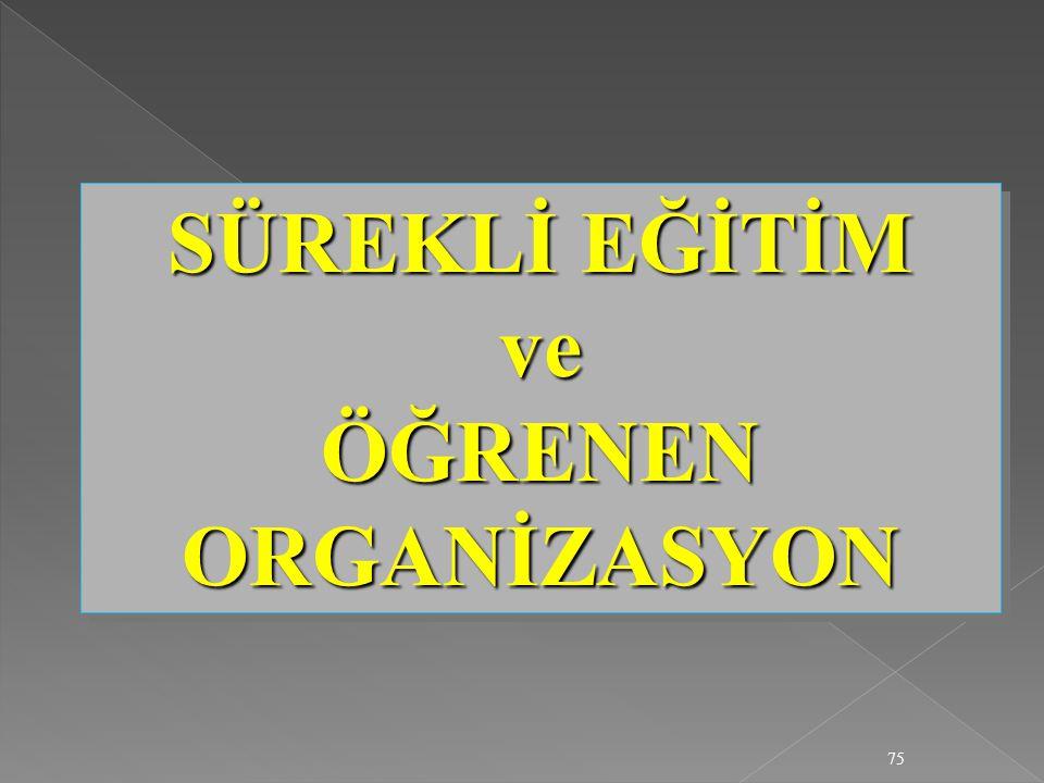 75 SÜREKLİ EĞİTİM ve ÖĞRENEN ORGANİZASYON