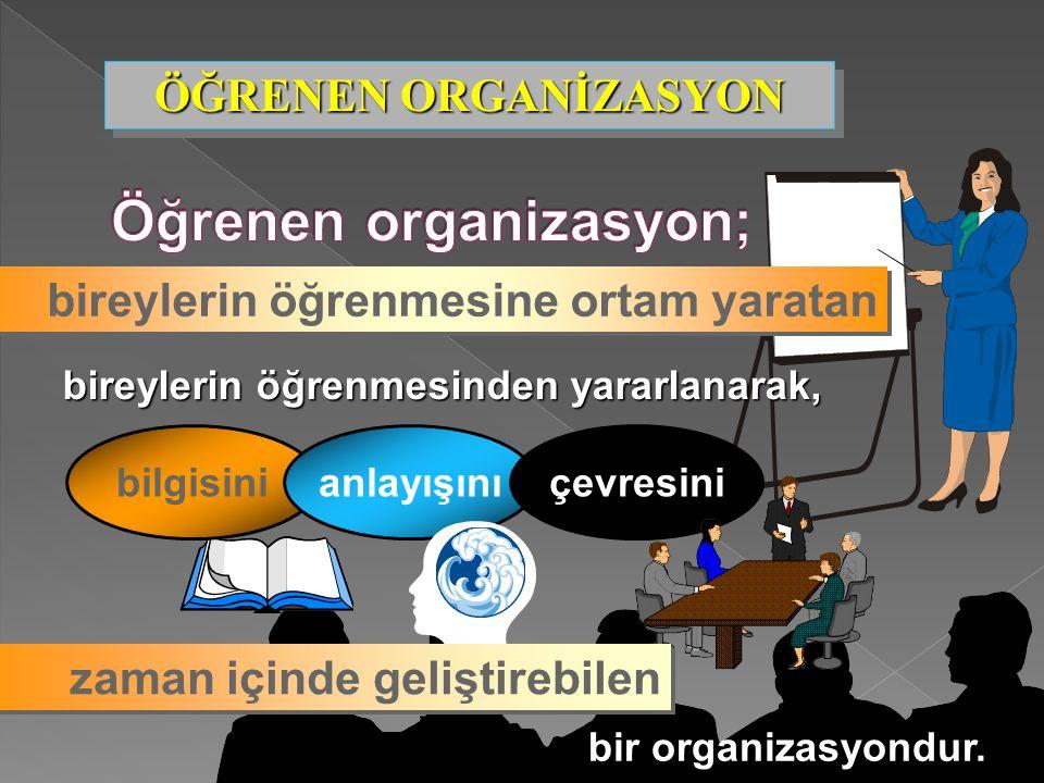 77 bireylerin öğrenmesine ortam yaratan bireylerin öğrenmesinden yararlanarak, bilgisinianlayışınıçevresini bir organizasyondur. zaman içinde geliştir