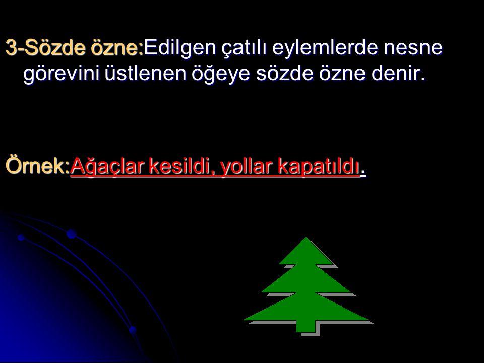 3-Sözde özne:Edilgen çatılı eylemlerde nesne görevini üstlenen öğeye sözde özne denir. Örnek:Ağaçlar kesildi, yollar kapatıldı.