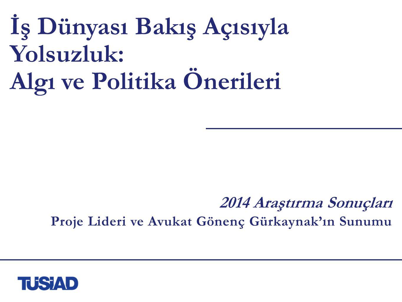 İş Dünyası Bakış Açısıyla Yolsuzluk: Algı ve Politika Önerileri 2014 Araştırma Sonuçları Proje Lideri ve Avukat Gönenç Gürkaynak'ın Sunumu