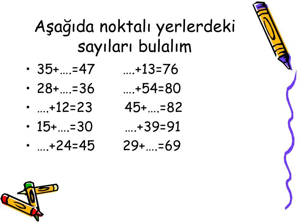 Aşağıda noktalı yerlerdeki sayıları bulalım 35+….=47 ….+13=76 28+….=36 ….+54=80 ….+12=23 45+….=82 15+….=30 ….+39=91 ….+24=45 29+….=69