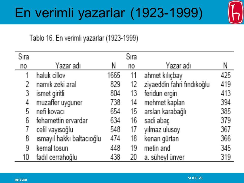 SLIDE 26 BBY208 En verimli yazarlar (1923-1999)