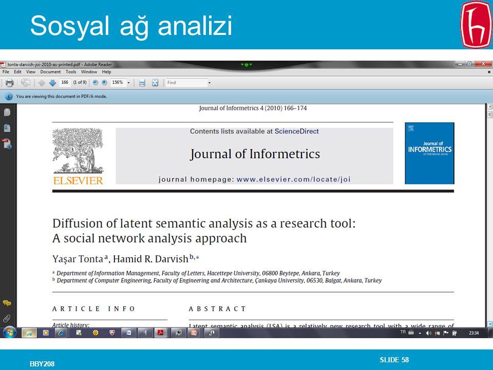SLIDE 58 Sosyal ağ analizi BBY208