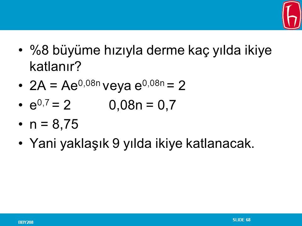 SLIDE 68 BBY208 %8 büyüme hızıyla derme kaç yılda ikiye katlanır? 2A = Ae 0,08n veya e 0,08n = 2 e 0,7 = 20,08n = 0,7 n = 8,75 Yani yaklaşık 9 yılda i