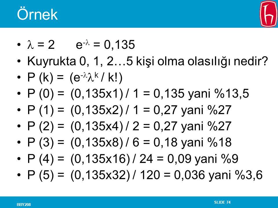 SLIDE 74 BBY208 Örnek = 2 e - = 0,135 Kuyrukta 0, 1, 2…5 kişi olma olasılığı nedir? P (k) = (e - k / k!) P (0) = (0,135x1) / 1 = 0,135 yani %13,5 P (1