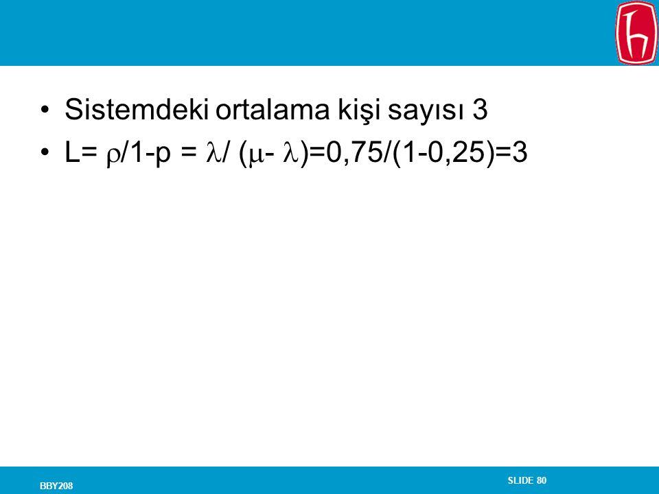 SLIDE 80 BBY208 Sistemdeki ortalama kişi sayısı 3 L=  /1-p = / (  - )=0,75/(1-0,25)=3