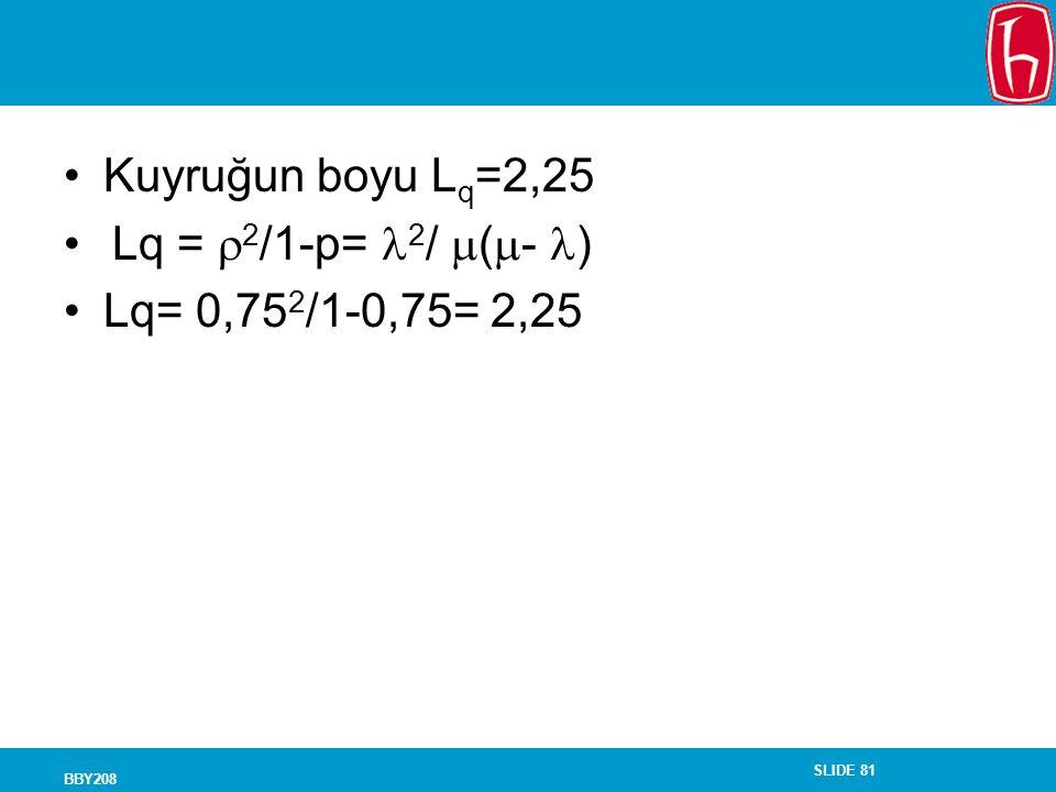 SLIDE 81 BBY208 Kuyruğun boyu L q =2,25 Lq =  2 /1-p= 2 /  (  - ) Lq= 0,75 2 /1-0,75= 2,25