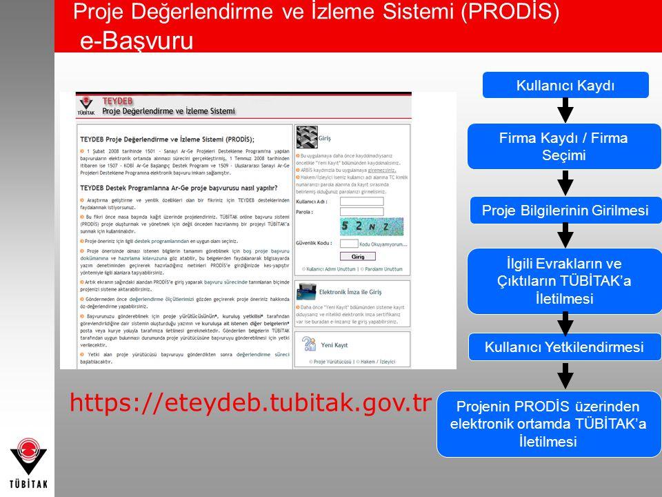 Proje Değerlendirme ve İzleme Sistemi (PRODİS) e-Başvuru https://eteydeb.tubitak.gov.tr Kullanıcı Kaydı Firma Kaydı / Firma Seçimi Proje Bilgilerinin