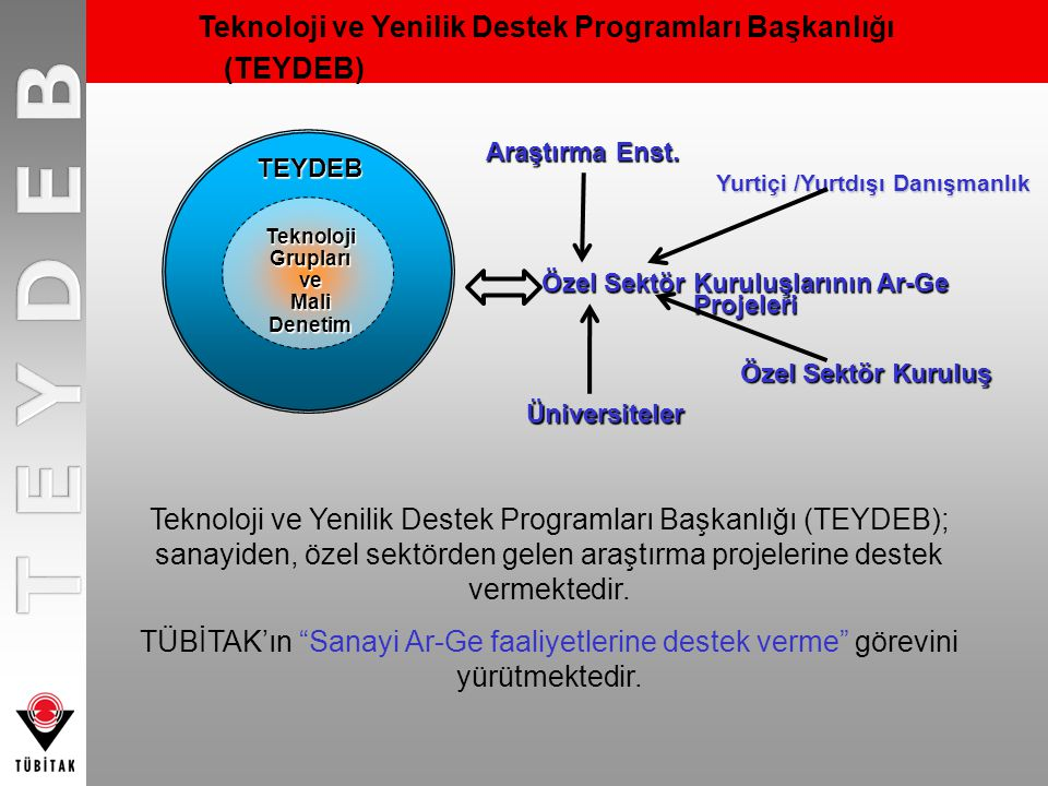 TEYDEB Özel Sektör Kuruluşlarının Ar-Ge Projeleri Teknoloji Grupları ve Mali Denetim Araştırma Enst. Üniversiteler Teknoloji ve Yenilik Destek Program