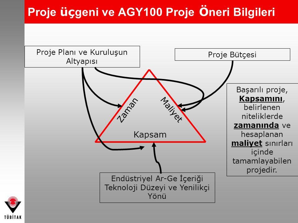 Proje üç geni ve AGY100 Proje Ö neri Bilgileri Zaman Maliyet Kapsam Proje Planı ve Kuruluşun Altyapısı Endüstriyel Ar-Ge İçeriği Teknoloji Düzeyi ve Y