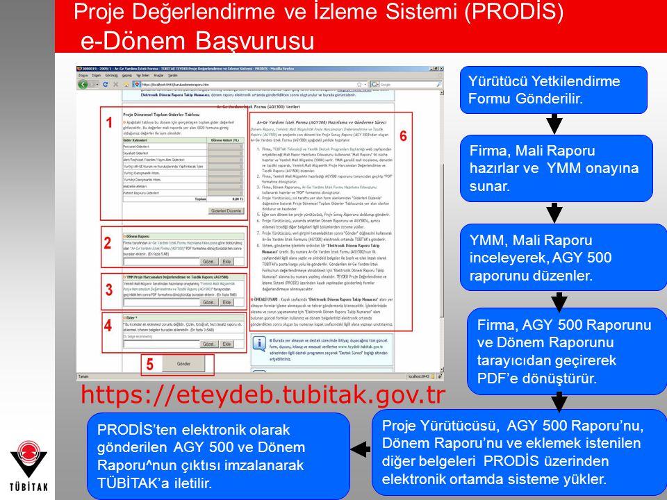 Proje Değerlendirme ve İzleme Sistemi (PRODİS) e-Dönem Başvurusu 43 https://eteydeb.tubitak.gov.tr Yürütücü Yetkilendirme Formu Gönderilir. Firma, Mal