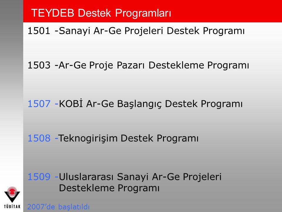 1501 -Sanayi Ar-Ge Projeleri Destek Programı 1503 -Ar-Ge Proje Pazarı Destekleme Programı 1507 -KOBİ Ar-Ge Başlangıç Destek Programı 1508 -Teknogirişi