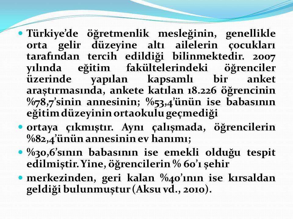 Türkiye'de öğretmenlik mesleğinin, genellikle orta gelir düzeyine altı ailelerin çocukları tarafından tercih edildiği bilinmektedir. 2007 yılında eğit